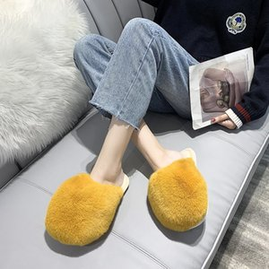 COOTELILI Women Home Slippers Round Toe With Faux Fur 2cm Heel Warm Shoes For Woman Winter Shoes Keep Warm Size 36-41 201203