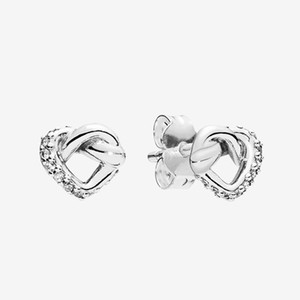 Women's Knotted Heart Little Stud Earrings Sparkling summer Jewelry for 925 Sterling Silver Love hearts Earring with box