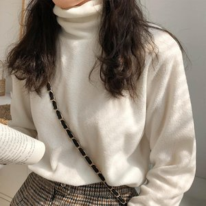 Base Shirt Female Autumn and Winter 2020 New Style Half Turtleneck Versatile Loose White Long-sleeved T-shirt Underwear on the C