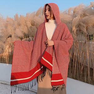 Abrigo mujer invierno con capucha Cabo Poncho Ladies Shaws Wrap Wrap Plaid Plaid Cashmere-like Whermet Bufanda Bufanda Mujer Tops