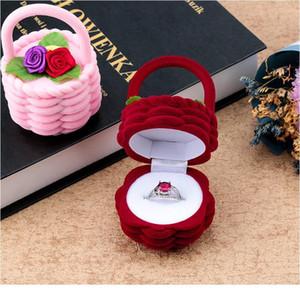 1 pièce Panier de fleur mignon Velvet Bague de fiançailles de mariage Boîte de boîte-cadeau pour boucles d'oreilles Collier Afficher Jewe Jllgnr