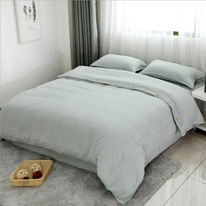Pure cotton bedding set Solid color Buttons Breathable and soft pillowcase quilt cover bed sheet 200x230cm for King Queen size