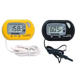 Mini LCD Termómetro de acuario digital Termómetro de peces Herramienta de temperatura de agua Negro amarillo de peces Termómetro de tanque con sensor con cable GWA2916