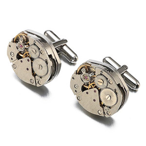 Steampunk Gift Vintage Watch Movement Anniversary Round Silver Clothing Accessories Valentines High-end Men Cufflinks Festival
