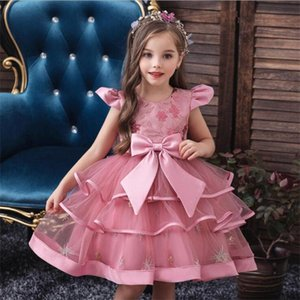 Lovely Knee Length Flower Girls' Dresses With Bow Sash Embroidery Ball Gown Girls Pageant Party Dress In Stock