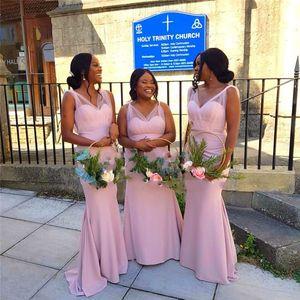 2021 Blush Tulle Satin Bridesmaid Dresses Plus Size Long V-neck Unique Shouder Desigher Open Back Wedding Dress Guest vestidos de noche