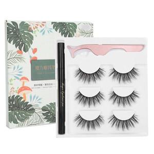 Self-Adhesive Eyeliner Water Liquid Eyeliner False Eyelashes Tweezers Makeup Tool Set Glue-free Magnetic-free Waterproof