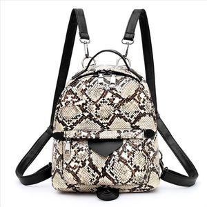 Fashion New style Snake Animal Print Shoulder Crossbody Bags Women Backpacks Small Skin PU Leather Backpack Mochila Knapsack