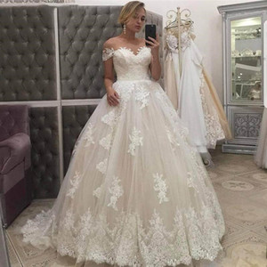 Chic Lace A-Line Wedding Dresses with Appliques Lace Short Sleeves Sweep Train Tulle Plus Size A Line Wedding Dress Bridal Gowns
