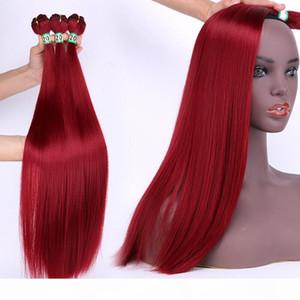 Estensione sintetica di capelli sintetica di 18 pollici peruviani estensioni peruviani di capelli rossi di colore singolo teaves bellezza 18ich bundles intrecciare i capelli Dritto per Marley