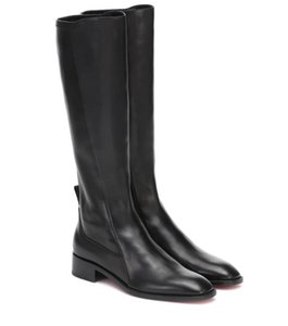 Hot Sale-Winter Fashion Women Red Bottom Boots Tagastretch leather Knee-high Boots Black Genuine Leather Tall Boots Flats Comfort Party