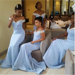 Custom Beaded Sequins Off Shoulder Bridesmaid Dresses Zipper Back Long Sweep Mermaid Prom Gowns Cheap Wedding Party Dress