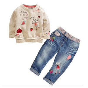 Hot New Fashion Children Girls Clothes Sets Cotton Long Sleeve Tops+Jean 2 pcs Spring Autumn Kids Girl Clothing Set Girls Suits Y1113