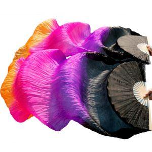 High Quality Silk Belly Dance Fan Dance 100% Real Silk Veils Left+right Colors Black+Purple+Rose red+Orange