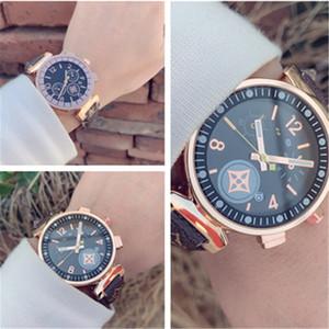 Унисекс платье часы новых L.V роскошные мужские женские модные часы 38 мм циферблат кожа коричневые кварцевые часы женские часы Relógio Montr с коробкой