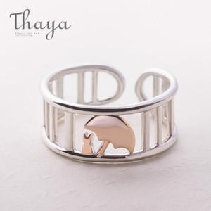 Thaya S925 серебряный розовый золотой зонтик защищать кошачье кольцо свадебные полосы римские колонны ювелирные изделия стиль животных пальцев кольцо для женщин1