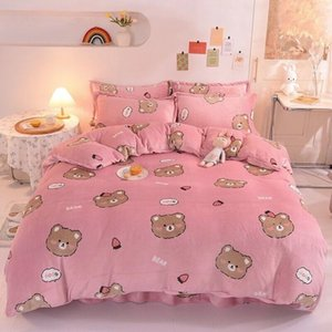 2020 pink designer bedding sets bear print velvet queen bed comforters sets modern luxury winter bedding