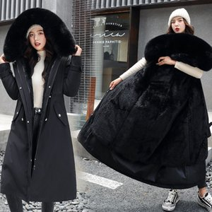 Fitaylor New Winter Long Coat Women Warm Thickness Hooded Parkas Plus Size Large Fur Collar Embroidery Jackets Padded Coats 201120