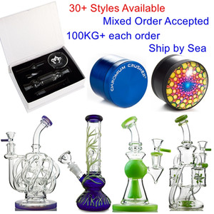 30+ stili in magazzino Tornado Bong Klein Recycler Heady Glass DAB Rigs ShowerHoad Perc Percolator Oil Rig Panisca Colorful Pipe Pipe Ship By Sea