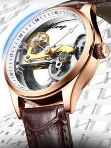 Banda AILANG vuota trasparente di scheletro orologio automatico da polso uomo in pelle Orologio Openwork Tourbillion Maschio Orologio Meccanico
