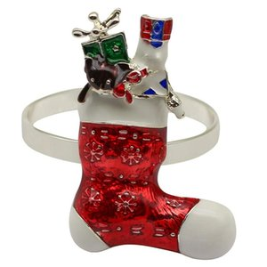 6PC Christmas Stocking Napkin Rings for Xmas Dining Table- Napkin Ring Holder for Holiday Party Table Decoration