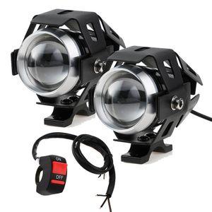 125W Motorcycle Headlights with Switch Motorbike Auxiliary Spotlight U5 LED Motor Driving Strobe Flashing DRL Lights for ATV UTV Tru car dvr