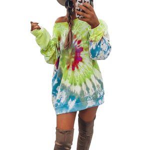 Kravat Boyama Kadın Hoodie T Shirt Yuvarlak Boyun Tam Kollu Kadın Orta Uzunlukta Gevşek Rahat Güz Tişörtü Elbise Tops