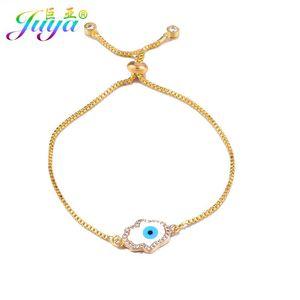 JUYA GOLD / ROSE GOLD HAMSA of Fatima Charm Braclets для женщин Мужчины Ручной раковины Слезные браслеты для глаз подарочные украшения