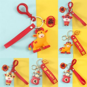 p4I luxury day Fluffy Plush Genuine Raccoon Small Gifts for the Year of the Ox Fur PompomCharm Bugs Bag Lucky Bag Bull Keychain