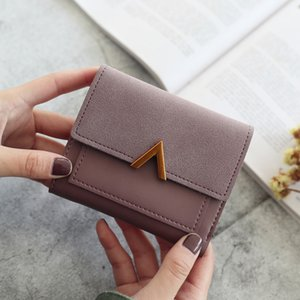 Short And V Fashion Decoration Purse Salpn Metal Wallets Womens Clips Cash Hasp Women Matte Small Retro Purses Money Bag Word Urfwt