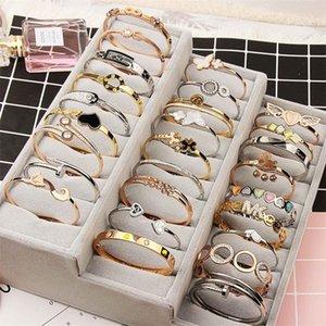 Открытая манжета титановый сталь браслет розовое золото серебро смешать разные стили кристалл горный хрусталь ювелирные изделия корейский модный шарм браслет DHL Fedex