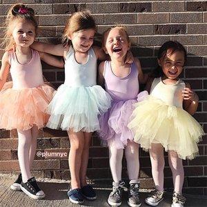 Fashion Girls Super Fluffy 5 Layer petticoat Princess Ballet Dance Tutu dress Kids Sleeveless Patchwork Sweet For Gir Q1118