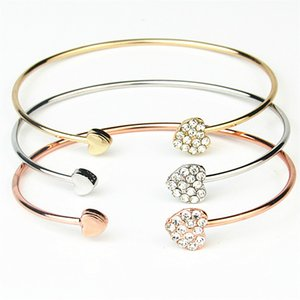 Womens Thinner Cuff Bracelet Heart Rhinestone Adjustable Rose Gold Diamond Ladies Cheap Fashion Jewelry Party Favor