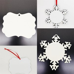 2020 Christmas Decorations Tree Gift Pendant Sublimation Blanks Ornament Wooden Coating Decor Snowflakes Circular Star Pendants DIY
