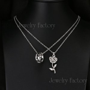 Emmaya Cheap 2 Pcs set Fashion Pendant Necklace Hot Sell White Gold Color Flower Necklaces For Lovers Factory Price sqcqIU