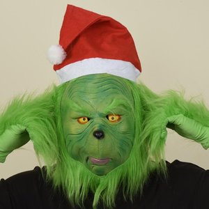 Christmas thief green fur headgear Christmas geek Grinch gloves mask holiday funny and evil props Green