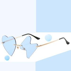 Óculos de sol moda vintage sem aro fêmea homens de baile de baile de formatura única personalidade em forma de coração de cinco pontas