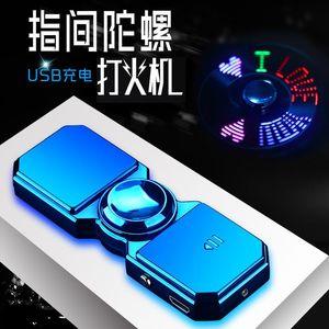 Inflatable Lighter Fingertip Gyro Glow In Dark Light Fidget Spinner Hand Top Spinners Stress Cigarette Accessories Men's Gift E H sqcMcS