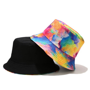 2021 New spring Summer Tie dye Geometric Printed Bucket Hats Women Mens Beach Fisherman's hat Outdoor Sun Caps