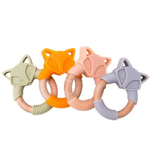 5pc Silicone Baby Teether Fox Animales Anillos de Madera Roeds Teether Roeds Beech Wood Rattles Chew Fox Anillos Productos para Bebé 201123