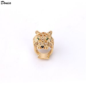 Donia jewelry hot ring fashion set zircon green eye leopard ring European and American creative men and women designer ring