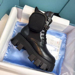 New Men Women Women Designer Boots escovado de couro de Rois e nylon monólito 55mm de borracha de borracha sola com uma cinta tamanho 35-45