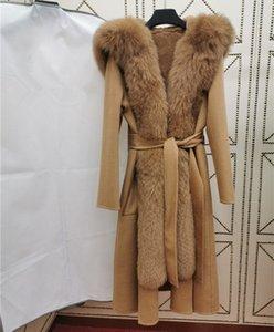 high quality cashmere wool coat women Long overcoat female Natural real fox fur collar Detachable rabbit fur liner winter jacket Y1128