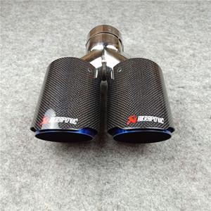 1 Parça Yüksek Kalite Y Model AK Parlak Siyah Izgara Mavi Paslanmaz Çelik Egzoz Borusu Akrapoviç Karbon Fiber Susturucu İpucu