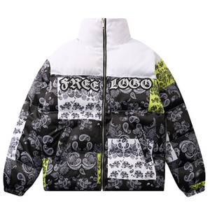 Mens Bandana Patchwork Parkas Vintage Dicke Jacken Winter Unisex Warme Baumwolle Paar Windbrecher Gepolsterte übergroße Mäntel