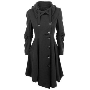 2020 Gothic Long Trench Coat Black Slim Asymmetric Lapel Collar Button Elegant Autumn Winter Vintage Goth Overcoat Outwears