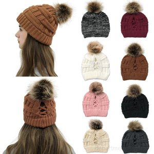 Fashion Knitted Caps Women Pom Ball Ponytail Beanie Winter Warm Wool Knitting Hat Christmas Party Hats Supplies OWF3043