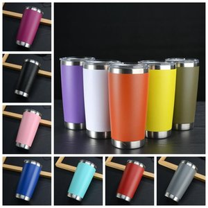 20oz Tumblers 16 Colors Stainless Steel Drinking Cup With Lid Wine Glass Vacuum Insulated Coffee Travel Mugs SEA SHIPPING DWF3494