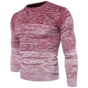 Gradual change round neck pullover sweater men knitted