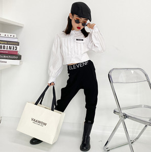 Big Girls white casual shirt 2021 new children lapel fold long sleeve shirt kids cotton single-breasted short tops 5-16T A5545